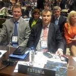 Eesti IPU delegatsioon saalis: T.Kõiv, J.Õunapuu, E.Nool ja M. Tuus-Laul.