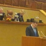 Leedu PM Butkevicius kõneleb ja endine PM Kirkilas juhatab